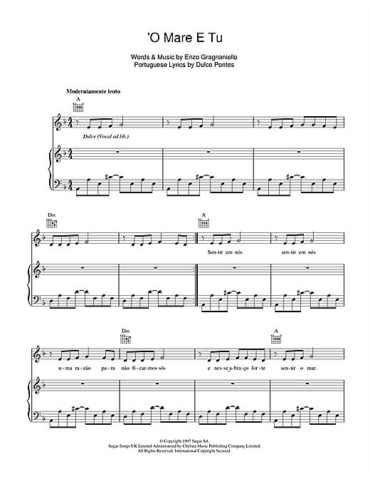 Andrea Bocelli 'O Mare E Tu sheet music notes and chords. Download Printable PDF.