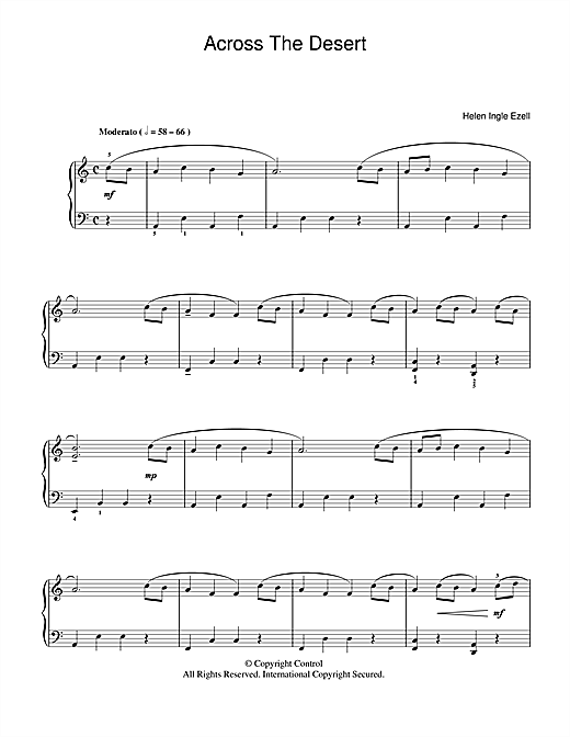 Helen Ingle Ezell Across The Desert sheet music notes and chords. Download Printable PDF.