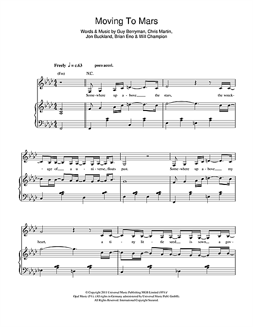 Coldplay Moving To Mars sheet music notes and chords. Download Printable PDF.