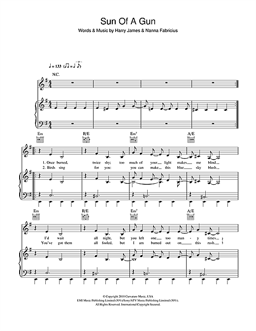 Oh Land Sun Of A Gun sheet music notes and chords. Download Printable PDF.