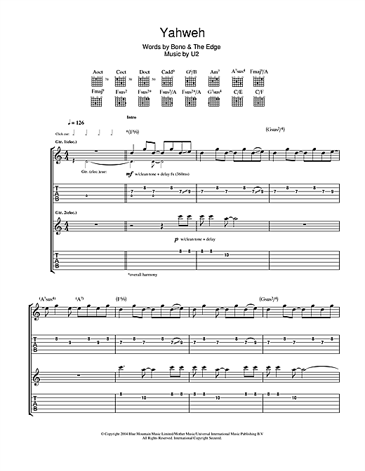 U2 Yahweh sheet music notes and chords. Download Printable PDF.