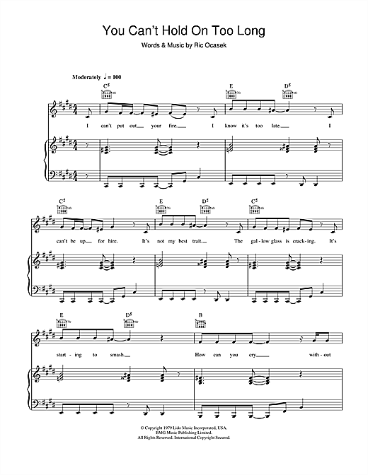 The Cars You Can't Hold On Too Long sheet music notes and chords. Download Printable PDF.