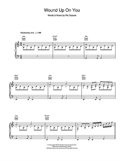 The Cars Wound Up On You sheet music notes and chords. Download Printable PDF.