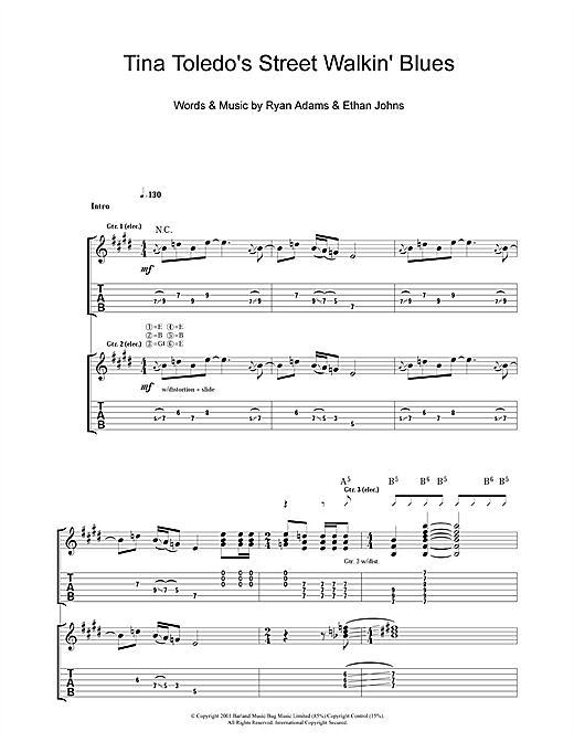 Ryan Adams Tina Toledo's Street Walkin' Blues sheet music notes and chords. Download Printable PDF.