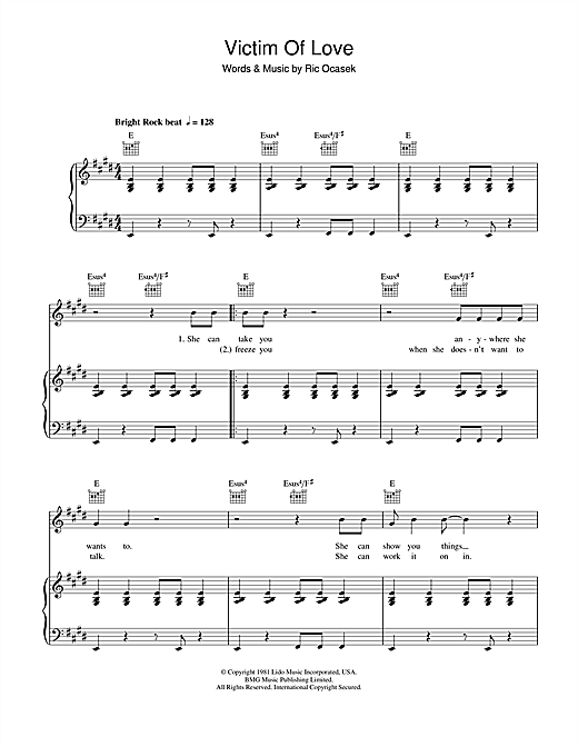 The Cars Victim Of Love sheet music notes and chords. Download Printable PDF.