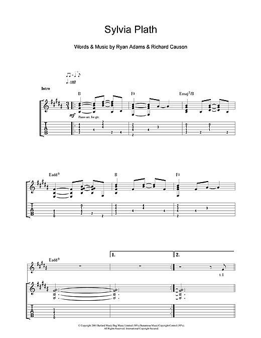 Ryan Adams Sylvia Plath sheet music notes and chords. Download Printable PDF.