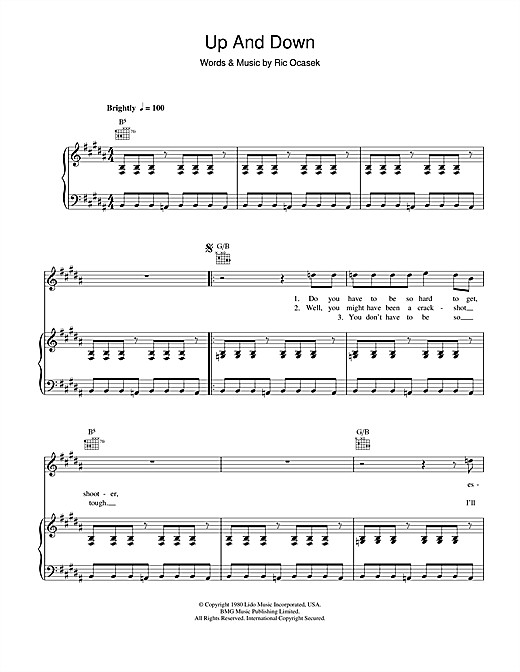 The Cars Up And Down sheet music notes and chords. Download Printable PDF.