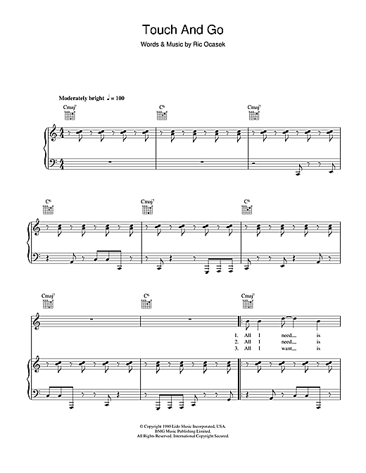 The Cars Touch And Go sheet music notes and chords. Download Printable PDF.