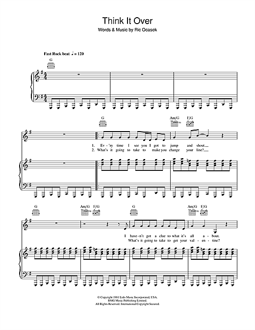 The Cars Think It Over sheet music notes and chords. Download Printable PDF.