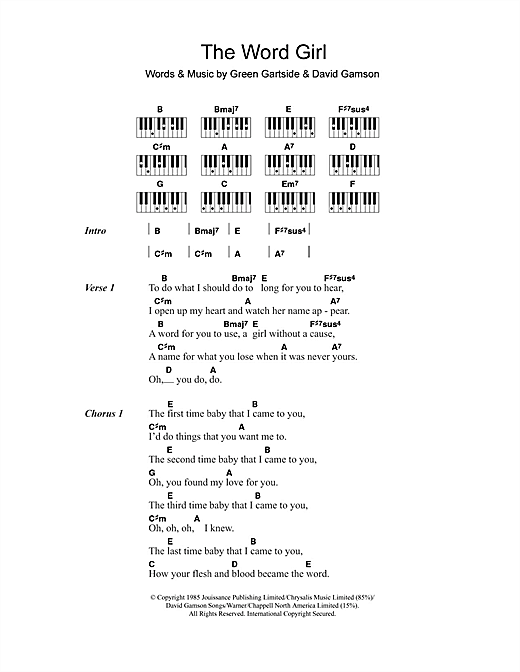 Scritti Politti The Word Girl sheet music notes and chords. Download Printable PDF.