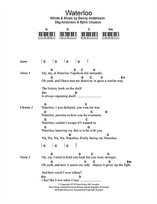 ABBA Waterloo sheet music notes and chords. Download Printable PDF.