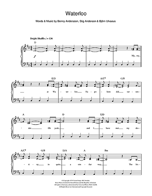 ABBA Waterloo sheet music notes and chords. Download Printable PDF.