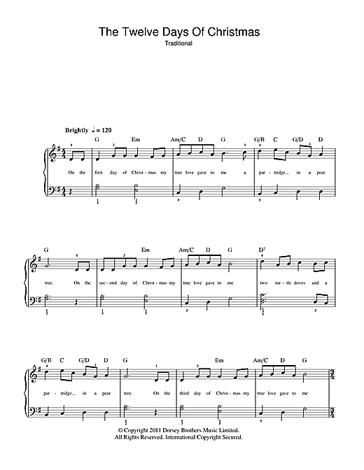 Christmas Carol The Twelve Days Of Christmas sheet music notes and chords. Download Printable PDF.