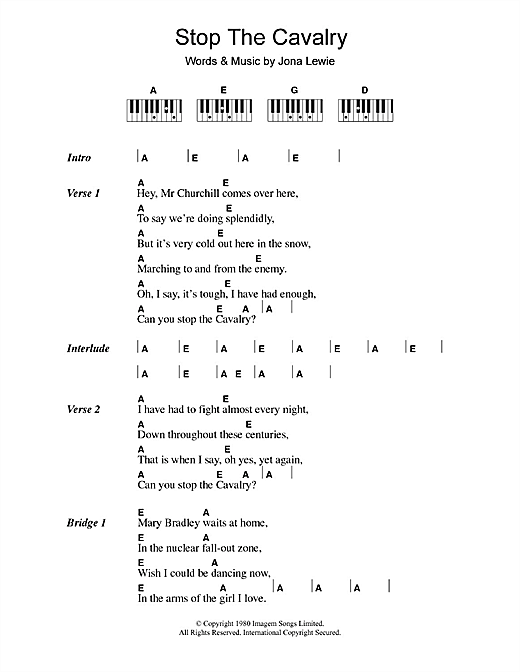 Jona Lewie Stop The Cavalry sheet music notes and chords. Download Printable PDF.