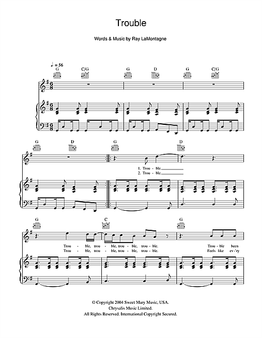 Ray LaMontagne Trouble sheet music notes and chords. Download Printable PDF.
