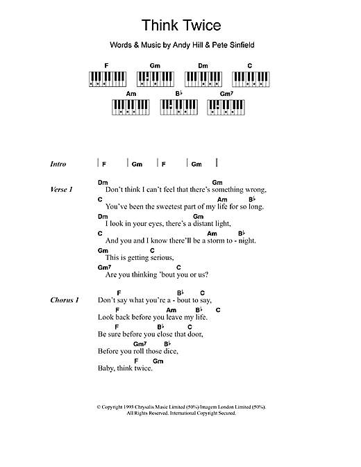Celine Dion Think Twice sheet music notes and chords. Download Printable PDF.