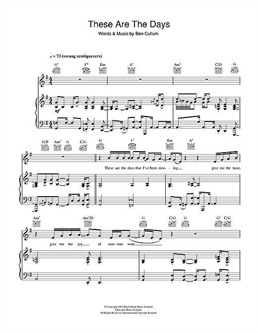 Jamie Cullum These Are The Days sheet music notes and chords. Download Printable PDF.