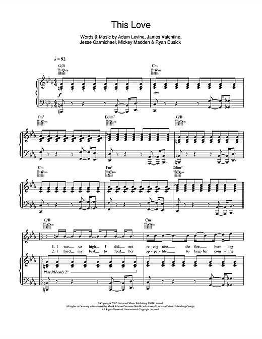 Maroon 5 This Love sheet music notes and chords. Download Printable PDF.