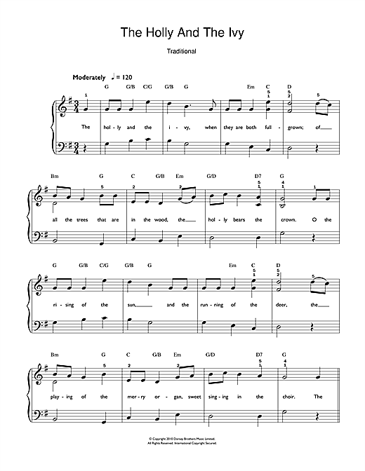 Christmas Carol The Holly And The Ivy sheet music notes and chords. Download Printable PDF.
