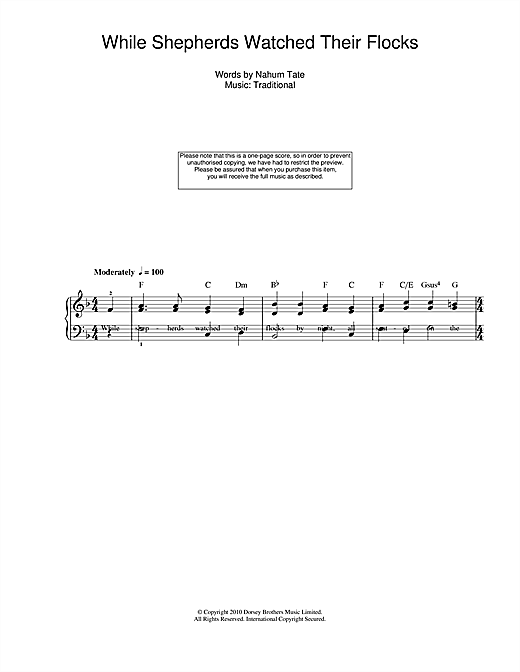 Christmas Carol While Shepherds Watched Their Flocks sheet music notes and chords. Download Printable PDF.