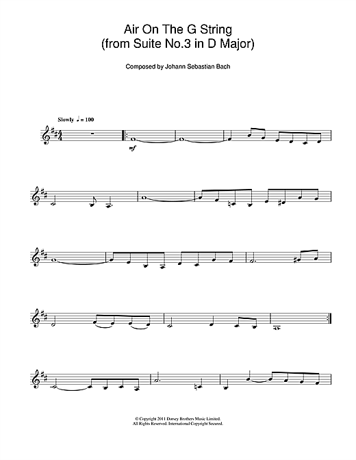 J.S. Bach Air On The G String (from Suite No.3 in D Major) sheet music notes and chords. Download Printable PDF.