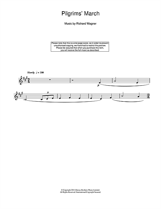 Richard Wagner Pilgrims' March sheet music notes and chords. Download Printable PDF.