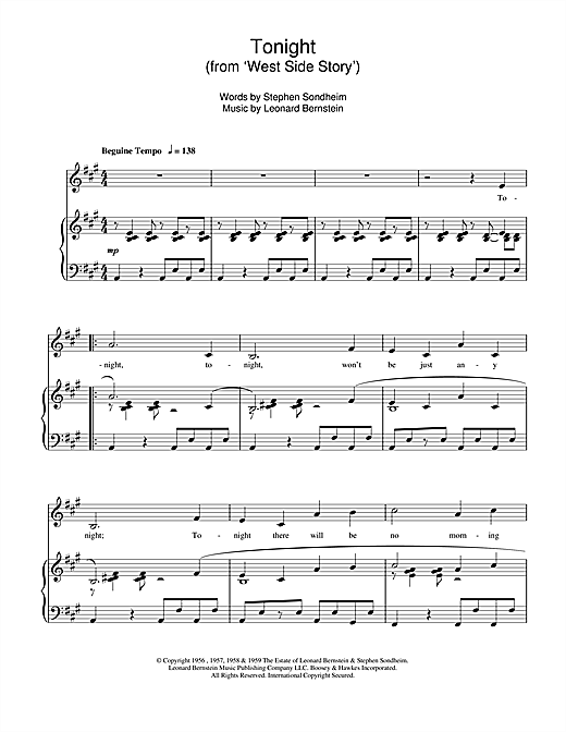 Leonard Bernstein Tonight (from West Side Story) sheet music notes and chords. Download Printable PDF.