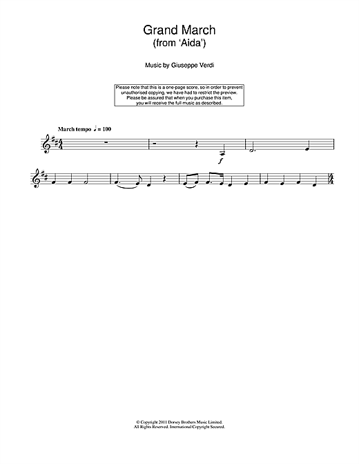 Giuseppe Verdi Grand March (from Aida) sheet music notes and chords. Download Printable PDF.