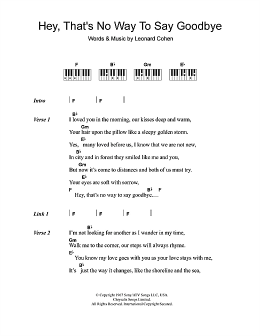 Leonard Cohen Hey, That's No Way To Say Goodbye sheet music notes and chords. Download Printable PDF.