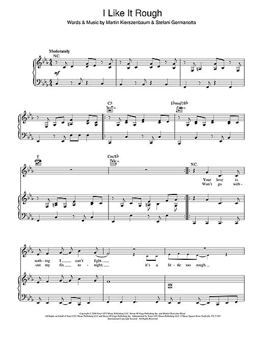 Lady Gaga I Like It Rough sheet music notes and chords. Download Printable PDF.