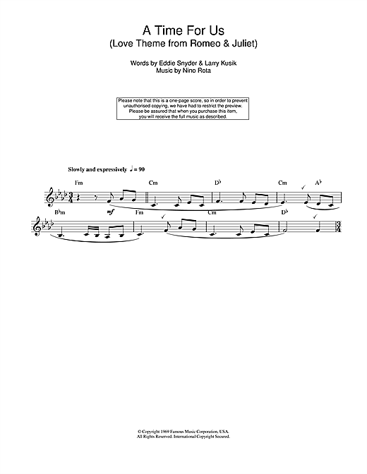 Nino Rota A Time For Us (Love Theme from Romeo & Juliet) sheet music notes and chords. Download Printable PDF.