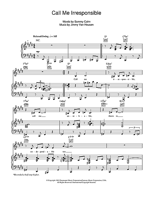 Michael Buble Call Me Irresponsible sheet music notes and chords. Download Printable PDF.