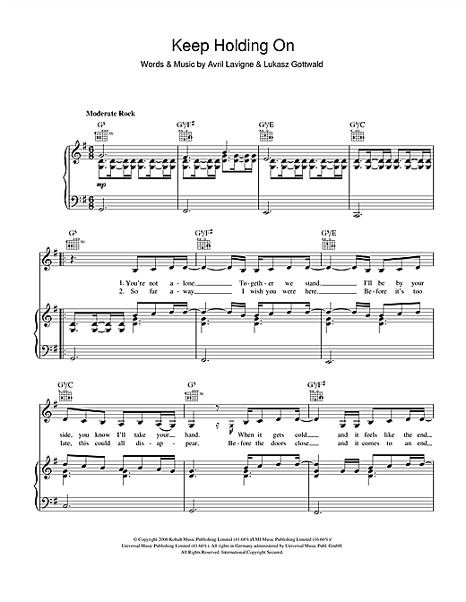 Avril Lavigne Keep Holding On sheet music notes and chords. Download Printable PDF.
