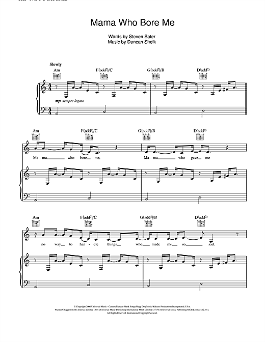 Duncan Sheik Mama Who Bore Me (from Spring Awakening) sheet music notes and chords. Download Printable PDF.
