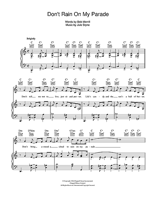 Jule Styne Don't Rain On My Parade sheet music notes and chords. Download Printable PDF.