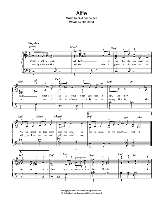 Burt Bacharach Alfie sheet music notes and chords. Download Printable PDF.