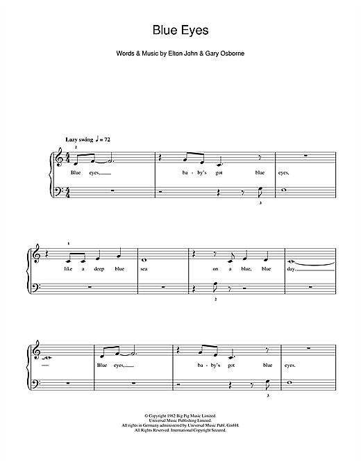 Elton John Blue Eyes sheet music notes and chords. Download Printable PDF.