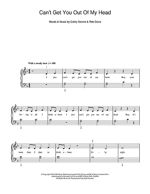 Kylie Minogue Can't Get You Out Of My Head sheet music notes and chords. Download Printable PDF.