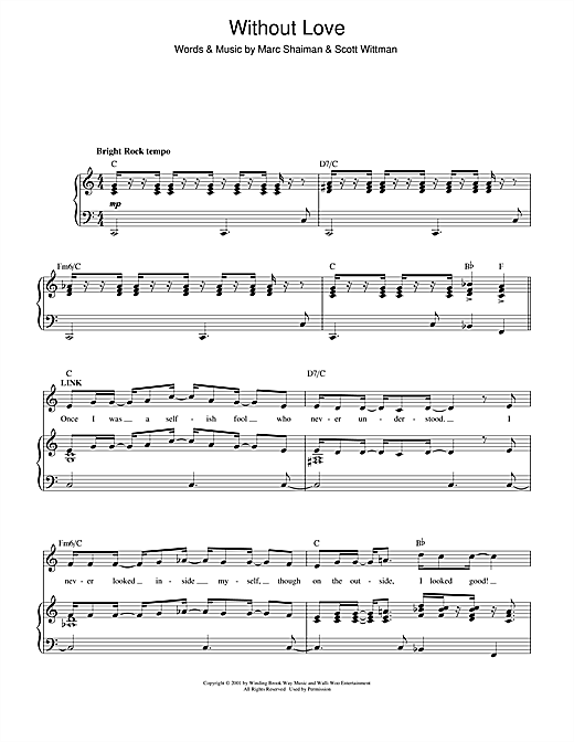 Marc Shaiman Without Love (from Hairspray) sheet music notes and chords. Download Printable PDF.