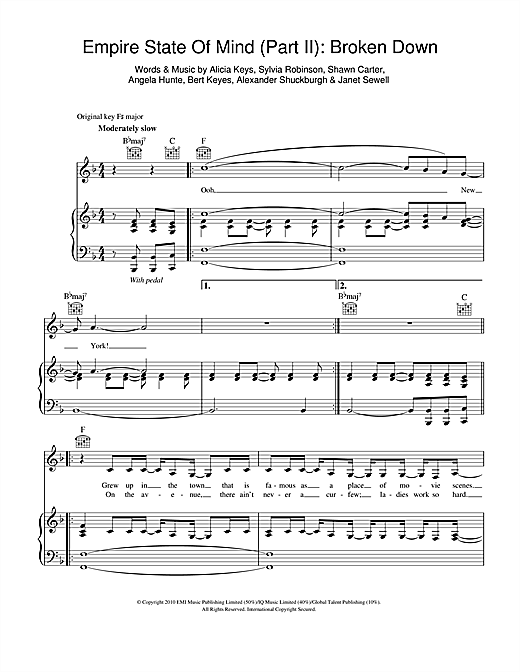 Alicia Keys Empire State Of Mind (Part II) Broken Down sheet music notes and chords. Download Printable PDF.