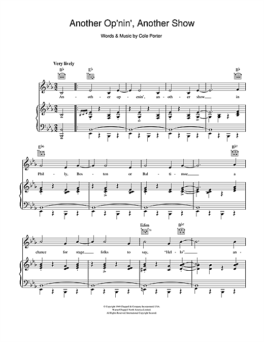 Cole Porter Another Op'nin', Another Show (from Kiss Me Kate) sheet music notes and chords. Download Printable PDF.