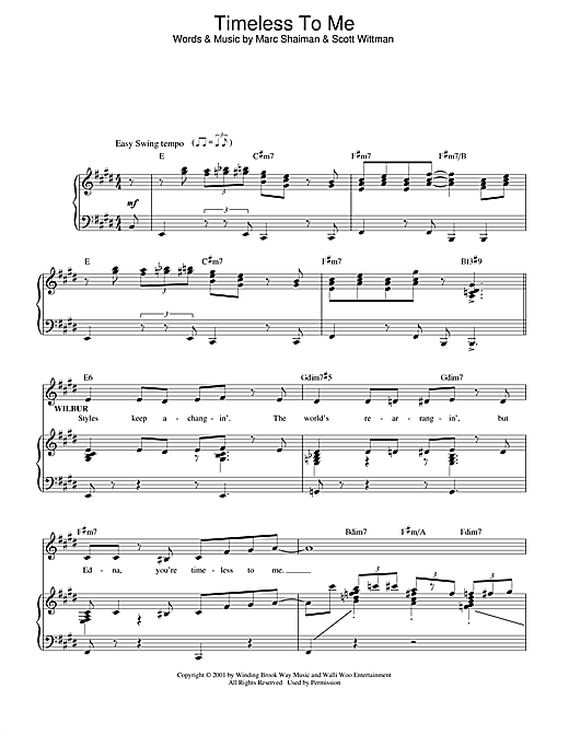 Marc Shaiman Timeless To Me (from Hairspray) sheet music notes and chords. Download Printable PDF.