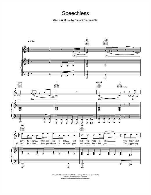 Lady GaGa Speechless sheet music notes and chords. Download Printable PDF.