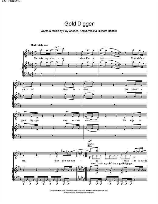 Kanye West Gold Digger sheet music notes and chords. Download Printable PDF.