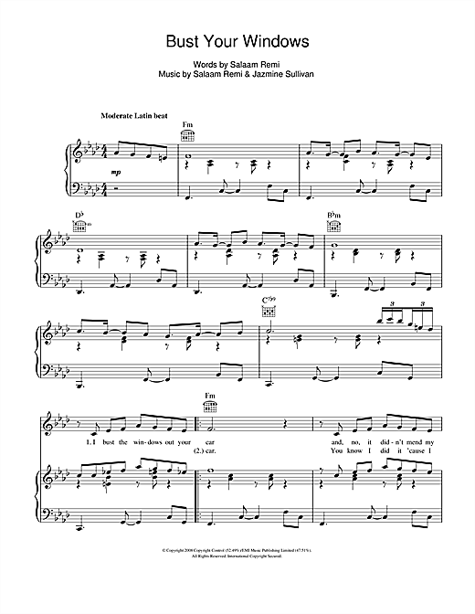 Jazmine Sullivan Bust Your Windows sheet music notes and chords. Download Printable PDF.