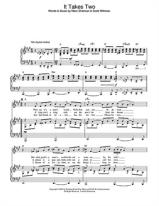 Marc Shaiman It Takes Two (from Hairspray) sheet music notes and chords. Download Printable PDF.