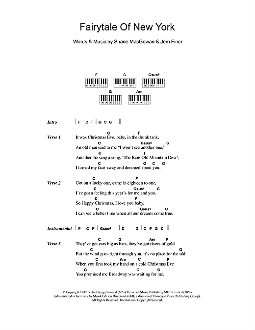 The Pogues & Kirsty MacColl Fairytale Of New York sheet music notes and chords. Download Printable PDF.