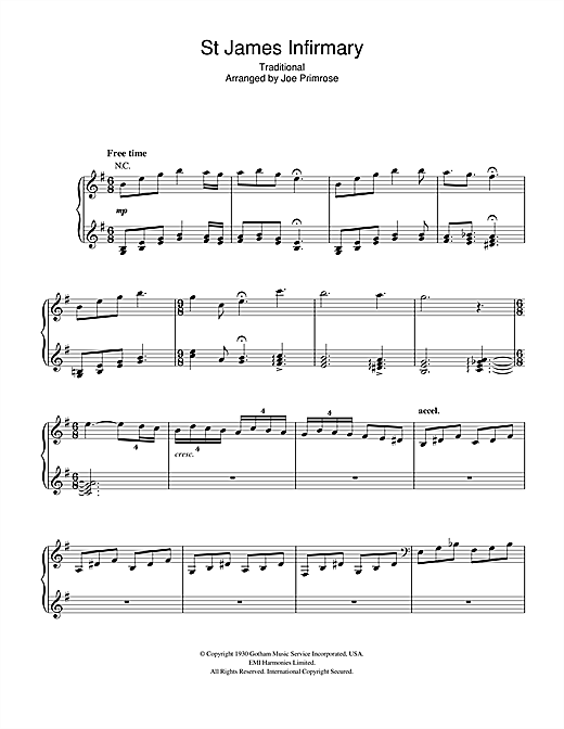 Hugh Laurie St James Infirmary sheet music notes and chords. Download Printable PDF.