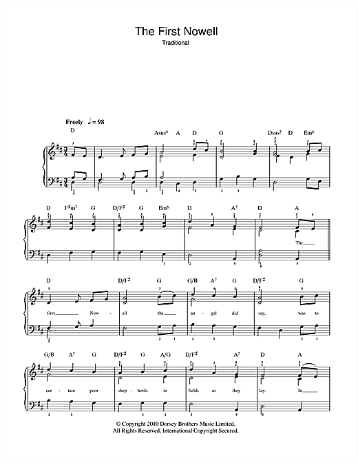 Christmas Carol The First Nowell sheet music notes and chords. Download Printable PDF.