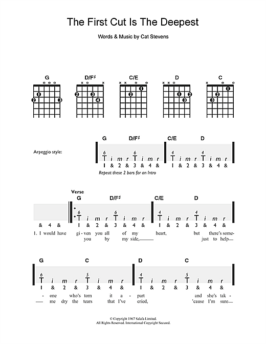 Cat Stevens The First Cut Is The Deepest sheet music notes and chords. Download Printable PDF.